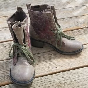 Roxy Taupe Floral Biker Combat Boots 10